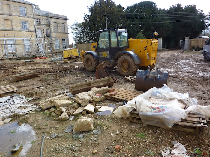 Excavation starting to dig pond base area