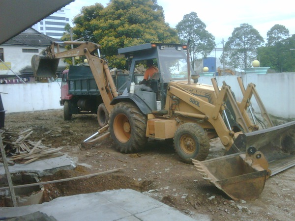 JCB for digging Koi Pond