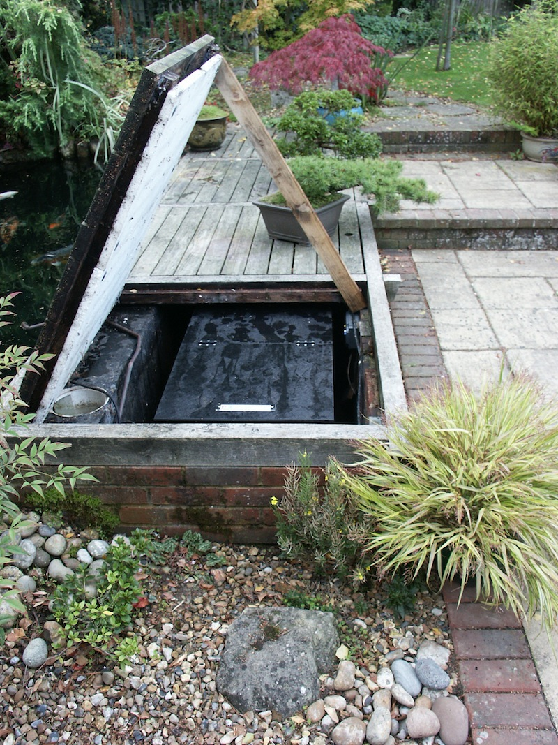 Converted filter pit with ample access to flush the ERIC Four