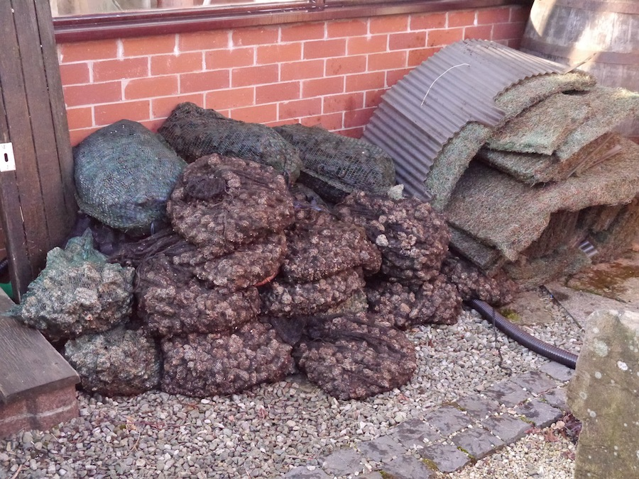 Picture showing the media that has been removed from the old koi pond filter