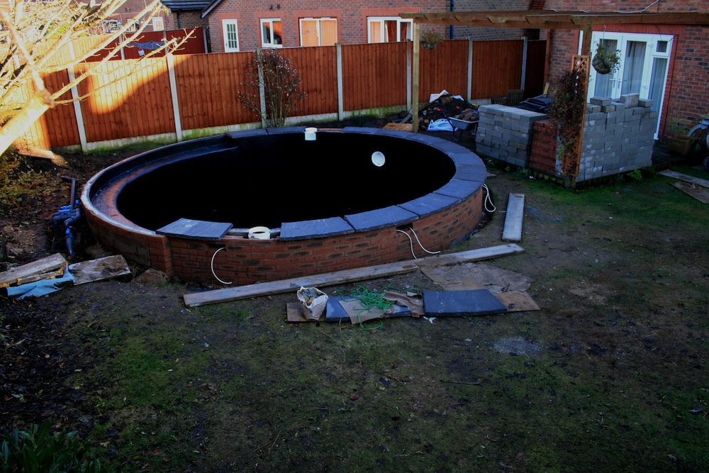 Picture showing the pond almost complete