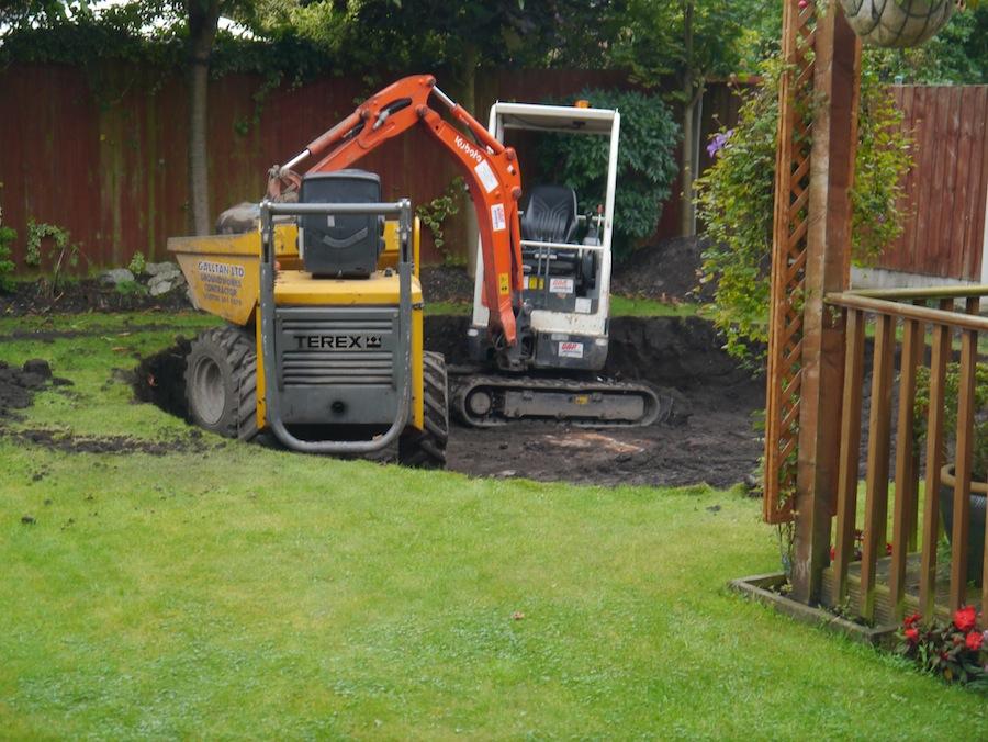 Excavator hit solid bedrock