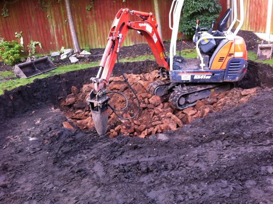 Excavator hit solid bedrock 1