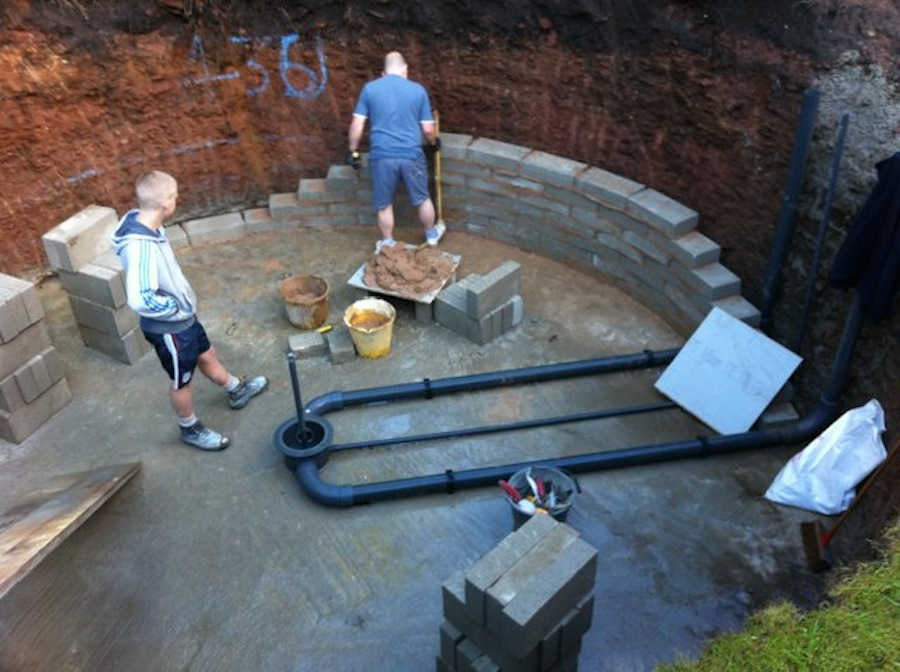 A new eric koi pond installation in north west england for Koi pond bottom drain setup