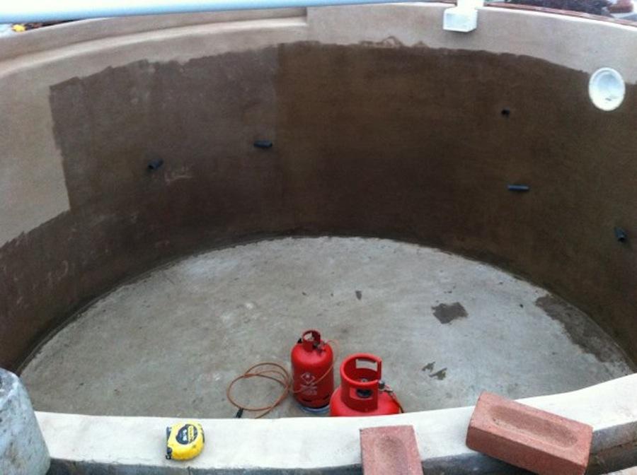 Koi Pond being fiberglassed