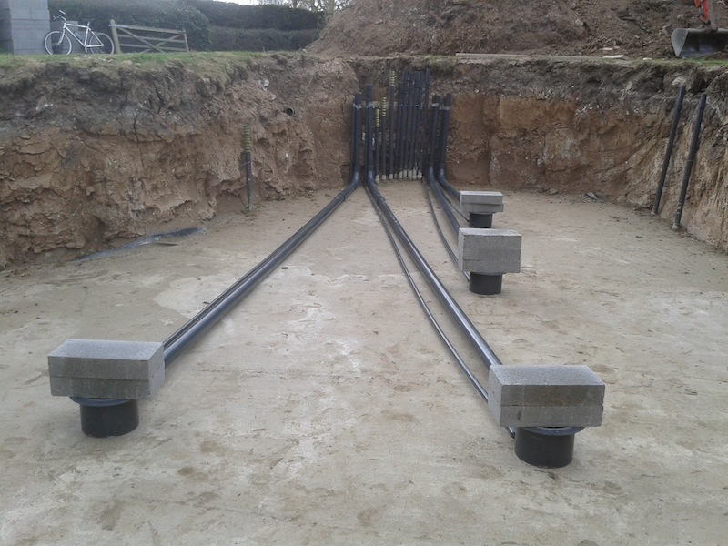 New eric pond well underway in lincolnshire for Bottom drain pond filter