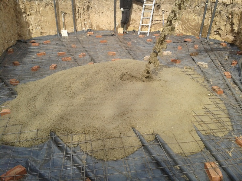 First 6 inch base of concrete